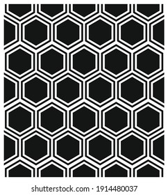 Hexagonal cell seamless pattern, comb texture. Seamless Vector illustration. Black and white geometric wallpaper. Monochrome