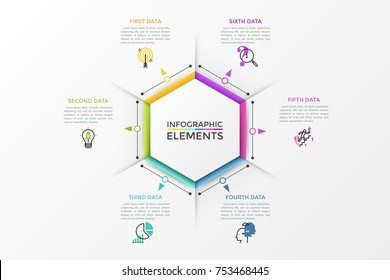 Hexagonal diagram surrounded by 6 colorful arrows pointing at thin line icons and text boxes. Modern infographic design layout. Vector illustration for presentation, website, brochure.