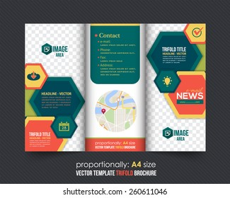 Hexagonal Frames Style Tri-Fold Brochure Design. Corporate Leaflet, Cover Template