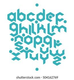 Hexagonal futuristic alphabet. Vector stock illustration of english letters in modern geometric style