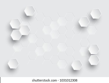 Hexagonal geometric abstract background, creative minimal design. Vector illustration concept for molecular structure, genetic, chemical, chemistry, medicine, science, technology, futuristic business.