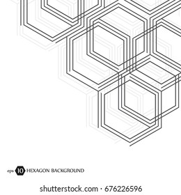 Hexagonal geometric background. Hexagons genetic and social network. Future geometric template. Business presentation for your design and text. Minimal graphic concept. Vector illustration