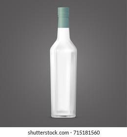 hexagonal glass bottles packed in green film on a gray background / Hexagonal glass bottles