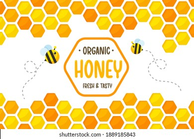 Hexagonal golden yellow honeycomb pattern paper cut background with bees flying around with sweet honey inside.