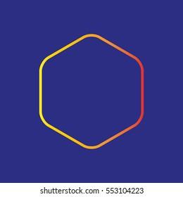 Hexagonal gradation icon linea misshapen