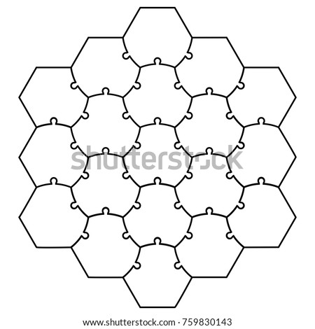 hexagonal jigsaw puzzle template puzzle vector stock vector royalty
