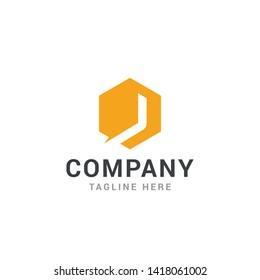 Hexagonal letter J geometric logo design template - Vector