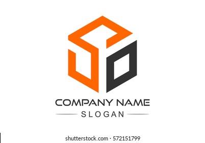 hexagonal letter s geometric logo concept