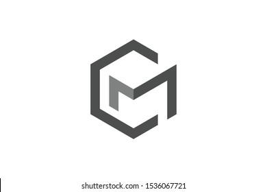 hexagonal logo initial letter C M