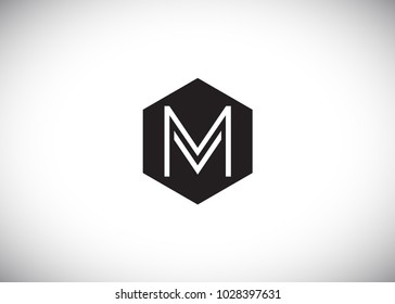 hexagonal logo letter MV VM