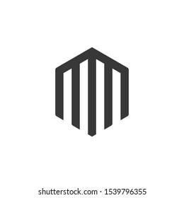 Hexagonal MM monogram Logo Template, Minimal Letter MM Logo .vector