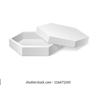 Hexagonal Modern Candy Open Box, White. Cardboard, Carton Package Box Open On White Background Isolated. Ready For Your Design. Product Packing Vector EPS10