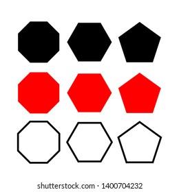 hexagonal, octagonal polygon. five, six, eight sided polygon black, red, line. pentagon, hexagon, octagon icon. vector geometry pentagonal