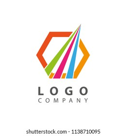 Hexagonal Shape Logo Design with Swoosh
