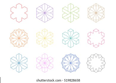 Hexagonal shapes set. Crystal forms. Winter design elements. Hexagons vector illustration. Snowflakes collection.