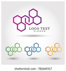 Hexagonal Symbol & Icon Logo Vector Template