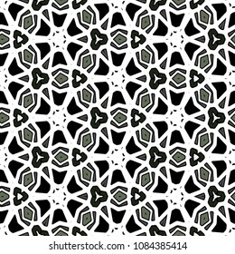 Фотообои Hexagonal symmetry vector ornaments. Geometric pattern for ceramic tile, surface design, textiles, printing, wallpaper.The endless texture with abstract stars.