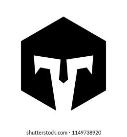 Hexagonal Titan spartan vector logo icon