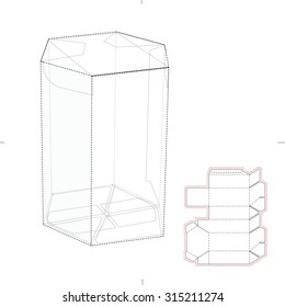 Hexagonal Tube Candy Box with Die Line Template