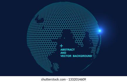 Hexagonal vector grid globe representing high tech, cloud computing and internet big data