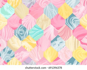 Hexagonal watercolor abstract seamless pattern