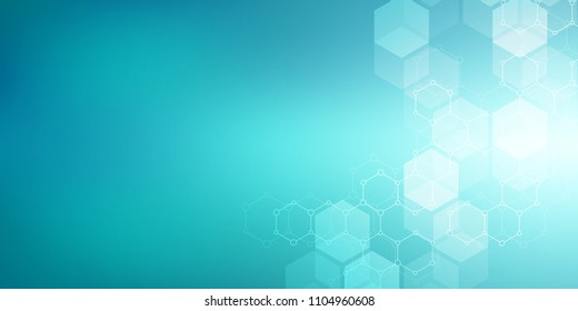 Hexagons design for medical, science and digital technology. Geometric abstract background with molecular structure and chemical compounds