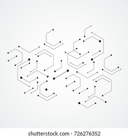 Hexagons genetic, science vector connection, chemical carcass and social network. Vector concept with lines and dots.