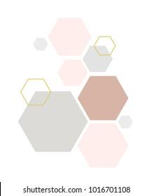 hexagons illustration, geometric shapes
