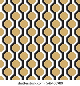 Hexagons pattern in black white and gold, abstract geometric background