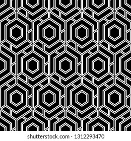 Hexagons, quadrangles pattern. Geometric background. Simple shapes backdrop. Polygons motif. Geometrical figures wallpaper. Seamless ornament. Digital paper, abstract.