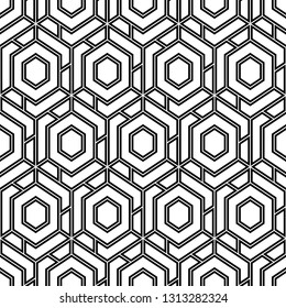 Hexagons, quadrangles pattern. Geometric background. Simple shapes backdrop. Polygons motif. Geometrical figures wallpaper. Seamless ornament. Digital paper, abstract