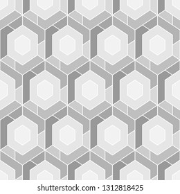 Hexagons, quadrangles pattern. Geometrical figures wallpaper. Geometric background. Simple shapes backdrop. Polygons motif. Digital paper, abstract. Seamless ornament