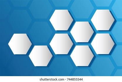 hexagons that highlight the background of flat blue hexagons