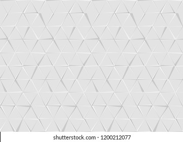 Hexagons and Triangles Seamless Pattern. Vector Geometric Abstract Background. Monochrome Gray Color