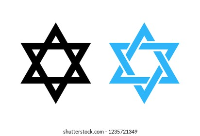 Hexagram David Star, black and blue icon of Israel holy religious symbol.