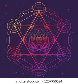 Hexagram with a lotus encompassed with a circle. Multicultural symbol representing anahata chakra in yoga and a Star of David. Line drawing isolated on textured background. Tattoo design. EPS10 vector