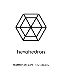 hexahedron icon. Trendy modern flat linear vector hexahedron icon on white background from thin line Geometry collection, outline vector illustration