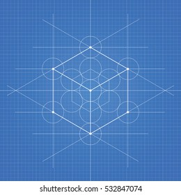 Hexahedron, a vector illustration of hexahedron on blueprint technical paper background