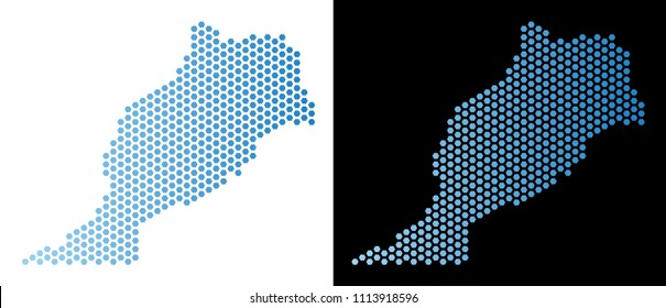 Hex-Tile Morocco map. Vector territorial plan in light blue color with horizontal gradient on white and black backgrounds. Abstract Morocco map concept is combined of hexagonal pixels.