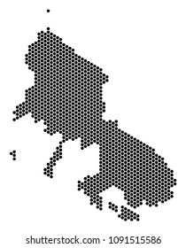 Hex-Tile Skyros Greek Island map. Vector territory scheme on a white background. Abstract Skyros Greek Island map collage is organized from honeycomb spots.