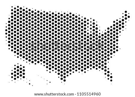 Hextile USA Alaska Map Vector Halftone Stock Vector (Royalty Free ...