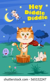 Hey Diddle Diddle, Kids English Nursery Rhymes book illustration in vector