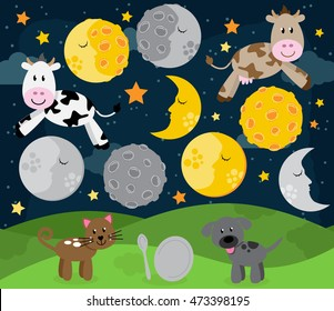 'Hey Diddle Diddle' Nursery Rhyme or Bedtime Story Landscape with Cow Jumping Over the Moon