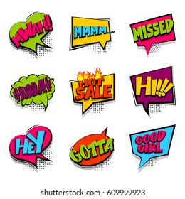 Hey, hi, hot sale set Comic book halftone colored background balloon. Bubble icon speech phrase. Cartoon exclusive font label expression. Comic text, sound effect dot back. Sounds vector illustration