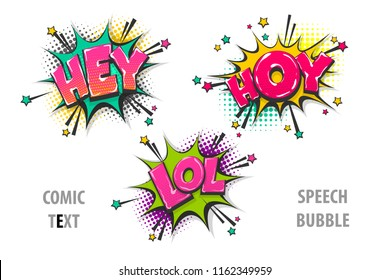 hey, hoy, lol pop art style set hand drawn sound effects template comics book text speech bubble. Halftone dot background.