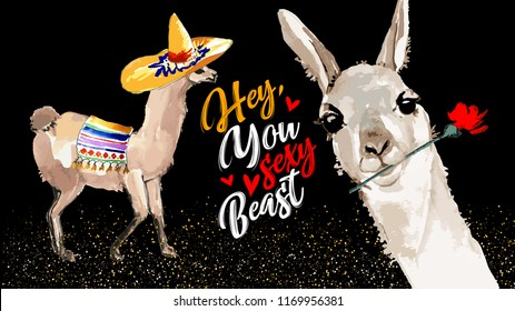 Hey you sexy beast. Cute cartoon llama. Cool motivational and inspirational quote. Cute lama drawing with lettering, hand drawn watercolor vector illustration for cards, t-shirts, cases.