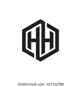 HH initial letters looping linked hexagon monogram logo