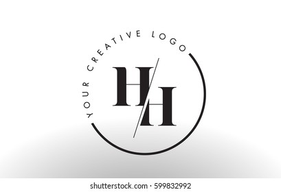 HH Letter Logo Design with Creative Intersected and Cutted Serif Font.