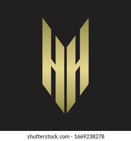 HH Logo monogram with emblem style isolated with gold colors