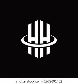 HH monogram logo in a hexagon style and surrounded by a ring